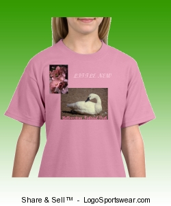 Little Girl's Trumpeter Swan And Mallow T-Shirt Design Zoom
